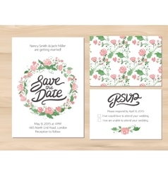 Wedding set with watercolor flowers and hand drawn vector