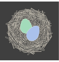 Straw nest with two eggs vector