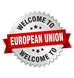 European union 3d silver badge with red ribbon vector