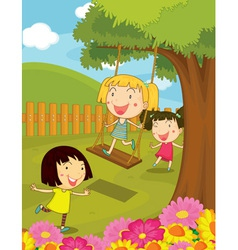 Cartoon of kids in the park vector image