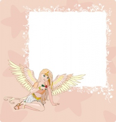 angel invitation card vector image