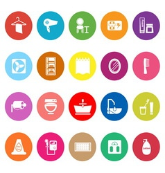 Bathroom flat icons on white background vector image vector image