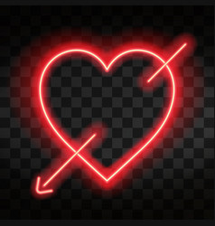 bright neon heart heart sign with cupid arrow on vector image