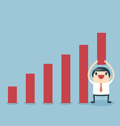 Businessman lifting increase graph vector image