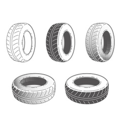 Car tire rubber wheel set vector