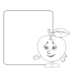 Character apple and poster outline vector image vector image