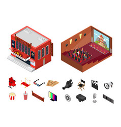 Cinema building isometric view vector