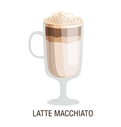 Coffee cups different cafe drinks latte macchiato vector