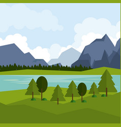 colorful background of natural landscape with vector image vector image
