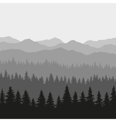 Coniferous forest and mountains background vector