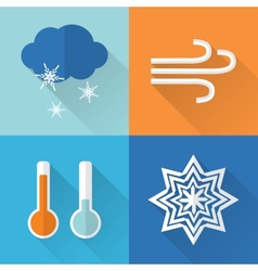 Flat style weather icons vector image vector image
