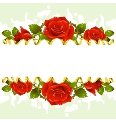 frame whith red roses vector image vector image