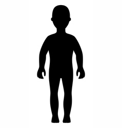 Front view girl black silhouette vector