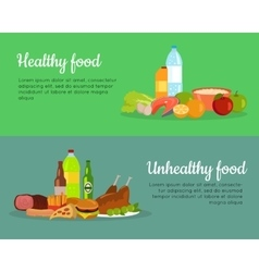 Healthy and unhealthy food banner poster vector