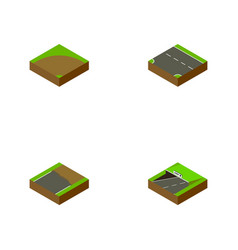 Isometric road set of subway sand downward vector