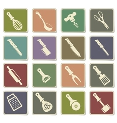 kitchen tools icons set vector image vector image