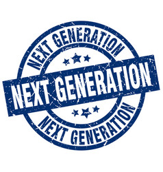 Next generation blue round grunge stamp vector