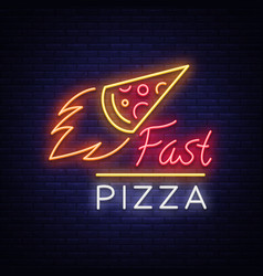 pizza logo emblem neon sign logo in neon style vector image