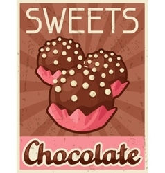 Poster with chocolate candy in retro style vector image vector image