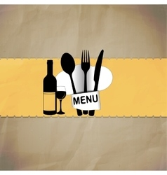 restaurant menu with chef hat line vector image vector image