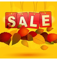 Sale tags with autumn leafs vector