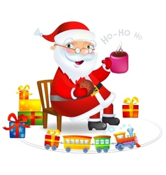Santa Claus with a hot tea and cookies vector image vector image