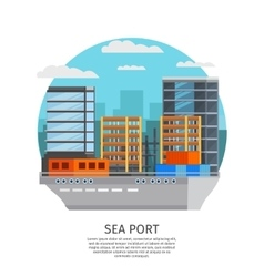 Sea port round design vector