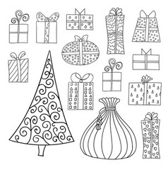 set of cute cartoon giftboxes presents and vector image