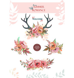 Set of summer bouquets and wreaths vector