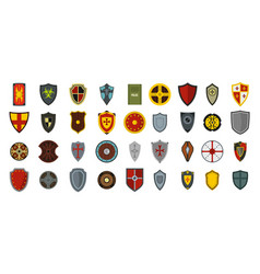 shield icon set flat style vector image vector image