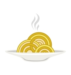Silhouette colorful dish with hot spaghetti vector
