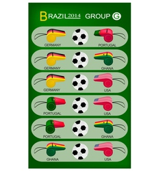 Soccer Tournament of Brazil 2014 Group G vector image