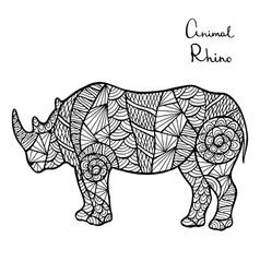 Stylized rhino zentangle isolated on white vector