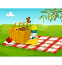 Summer picnic with park landscape cartoon basket vector