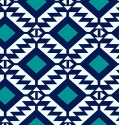 Tribal blue and turquoise geometric seamless vector
