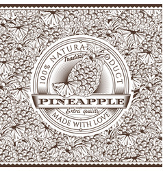 Vintage pineapple label on seamless pattern vector