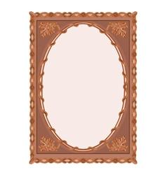 Wooden frame carved oak leaf vintage vector image
