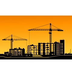 Working cranes on construction site vector image vector image