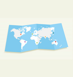 World map with GPS location pushpins EPS10 file vector image vector image
