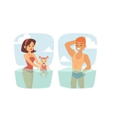 People in water vector