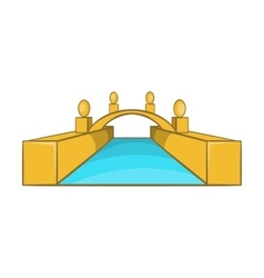 Rialto bridge canals of venice icon cartoon style vector