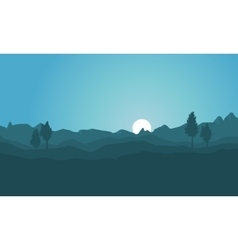 Silhouette of hill background collection vector