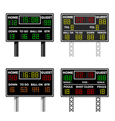 Basketball scoreboard time guest home vector