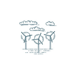 Wind generator turbines and clouds vector