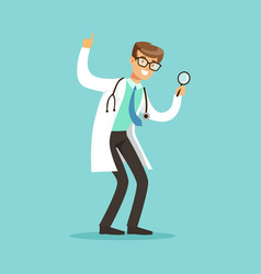 Smiling male doctor character standing and looking vector