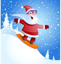 Santa claus on snowboard vector