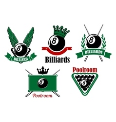 Billiard and poolroom emblems or icons vector