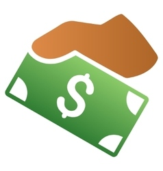 Manual banknote payment gradient icon vector