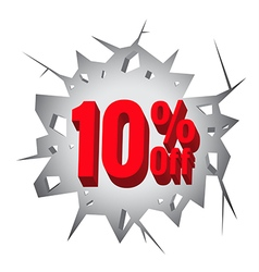 Sale 10 percent on hole cracked white wall vector