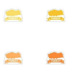 Set of paper stickers on white background turkey vector